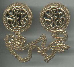 Brooch/Pr. of Chatelain Pins/Goldtone With Black Enamal