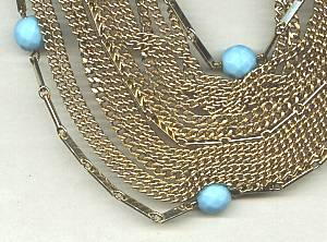 Necklace/Multi Chain (7) Choker W/Blue Faceted Glass Beads