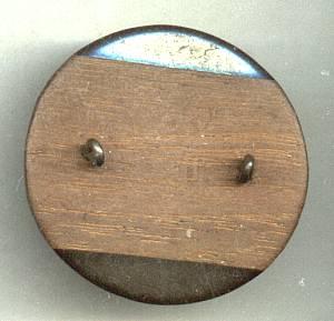 Button(s) Huge Domed Wood W/Bakelite Overlay Shank