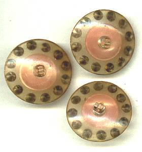 Button(s) 3 Pink & Clear Rhinestone Buttons