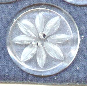 Button(s) 3 Lg. RND Clear Carved Lucite Sew Through Buttons