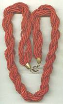 Necklace/12 strands Red Glass Seed Beads Twisted/Spring Ring Clasp