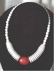 Necklace/White Plastic Beads/LG. Red Center Bead