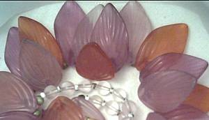 Necklace/Choker/Molded Lavender&Orangey Rust Colored Molded Plastic Leaves