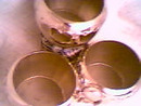 Kitchen Ware/3-Chrome Punch Cups/Makers Mark-T superimposed over an H