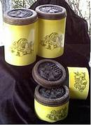 Kitchen Ware(s)/Canister Set/Bright Yellow Tin W/Molded Plastic Lids/Black Stamped Fruit Decoration