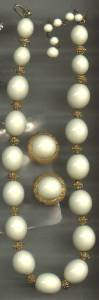 Set(s)/Designer/(Crown)Trifari White Bead & Faux Granulated Gold Spacers Necklace & Ears