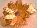 Hair Ornament/Barrette/GT W/3-D Flower W/Blue Rhinestone Center/