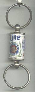 Advertising/Double Key Ring/Miller Light  Beer Can