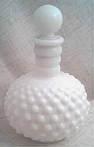 Perfume Bottle/Hobnail Milkglass W/Stopper