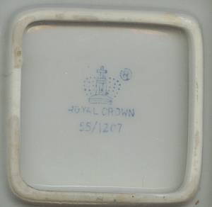 Smoking Item(s)/Ceramic AshtraySmall Square/Royal Crownark/Transfer Deco Of 1903 Cadillac Auto