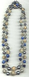 Necklace/1960's-1970's Japan DBL Strand Bead Necklace Royal Blue&Sugared Beads