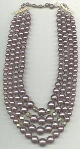 Necklace/1960's-1970's Japan 4-Strand Pearlized Rosey-Taupe Bead Choker