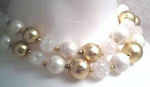 Set(s)/Designer/Deauville/DBL Strand W/White,Gold&Clear Crackled Plastic Beads/Matching Ear Clips