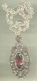 Necklace/Silertone W/Lg. Purple Glass Stone/Sm. Purple Rhinestones/Marked-Germany US Zone