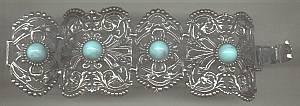 Bracelet/Link/Wide/Silvertone/Fillagree W/Turquoise Cabs