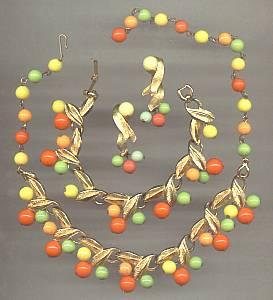 Set(s)/Choker,Ear Clips&Bracelet/Goldtone Leaf