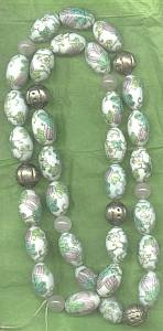 Necklace/String Of Beads/Glass With Transfers & Hand Painted Accents/Floral