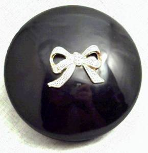 Vanity Item(s)/Powderbox/Black Plastic W/Hinged Lid/W/Gold Trim & Applied Gold Bow