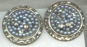 Earrings/Clip Ons/Blue Beads & Clear Rhinestones