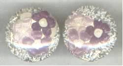 Earrings/Clip Ons/1950s Confetti Lucite W/Purple Florals