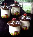 Ceramic/Pottery/Set Canisters/3-D Mushrooms