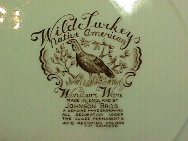 WILD TURKEYS / NATIVE AMERICANS DINNER PLATE 10 7/8