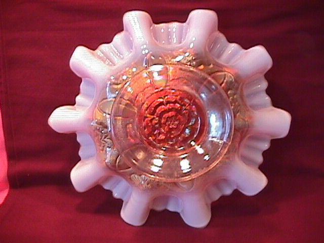 Dugan (Double Stem Rose) Bowl (Peach Opalescent)
