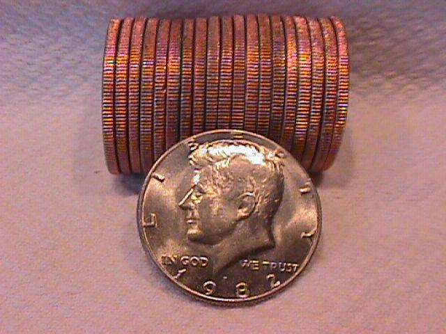U. S. Coinage Kenedy Half Dollar Roll 1982-P
