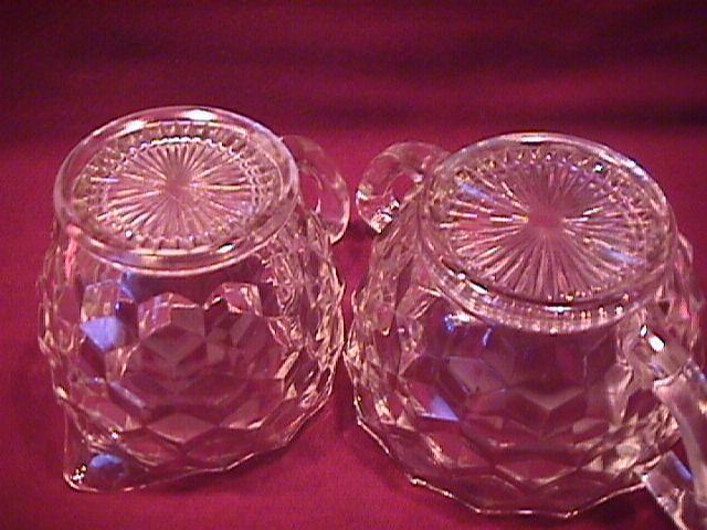 Hazel Atlas Depression Glass (American/Cube) Creamer & Sugar