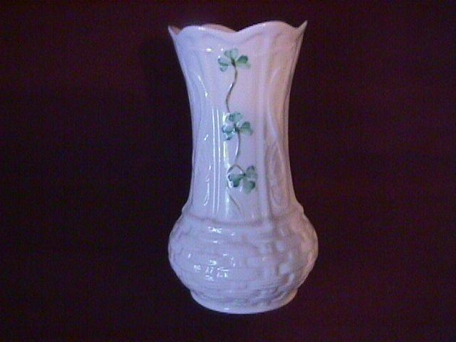 Belleek Porcelain (Shamrock) Basket Weave Vase