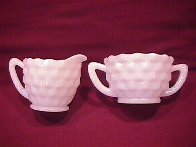Hazel Atlas Depression (Cubist) Milkglass Creamer & Sugar