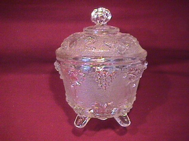 Pressed Glass Stippled (Grape) Covered Jar