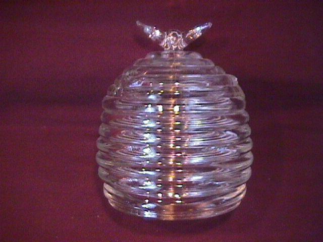 Pressed Glass Covered Honey Jar