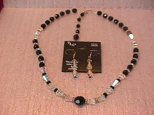 Aurora Borialis & Black Jet Single Strand Necklace & Earrings