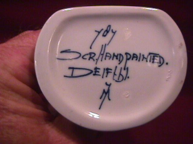 Miniature (Delfts) Hand-Painted  Stoneware Container