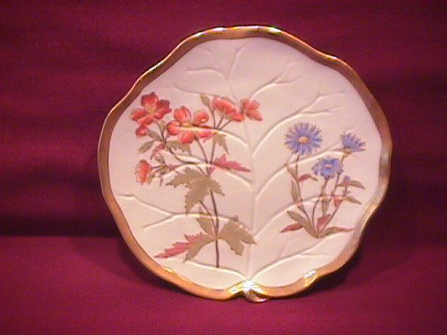 Beautiful Royal Worcester Porcelain Leaf Shape Plate