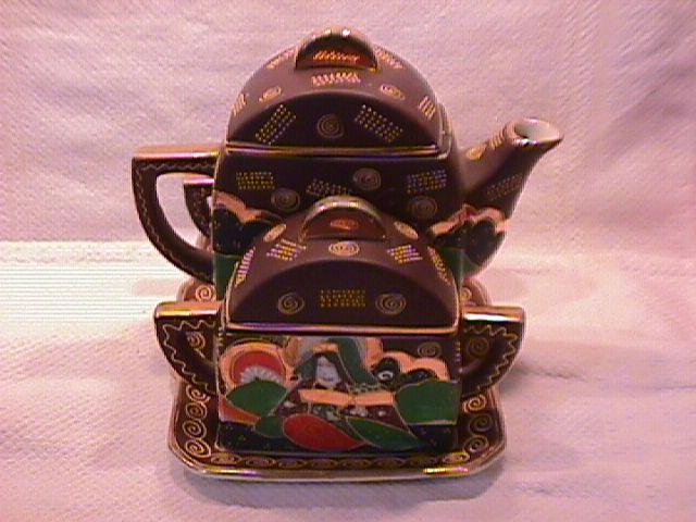 Moriage Satsumi/Kutani Japanese Tea Set on Tray