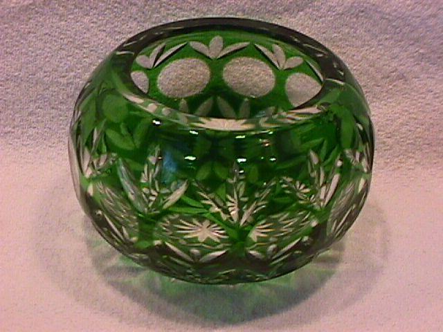 Hand Blown, Green Cut to Clear, ( Cased Glass) Rosebowl
