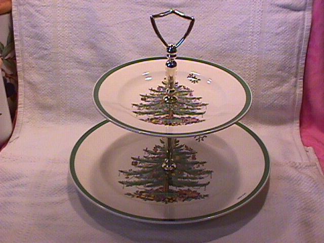 Spode Fine China (Christmas Tree) 2-Tiered Tidbit