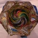 Art  Glass Hand-Blown, Italiian, Venetian (Mardi Gras= Colors Vase)