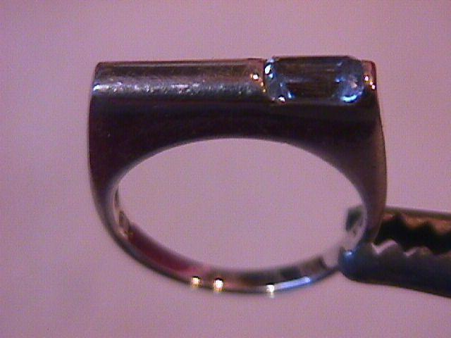 Sterling Modern Ring with a Aqua Stone