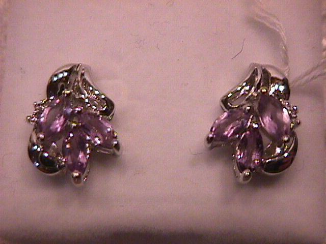 Thailand Set=Elegant Sterling & Amethyst Necklace & Earrings