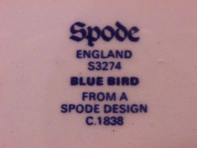 Spode China (Blue Bird)=S-3274 Square Vegetable
