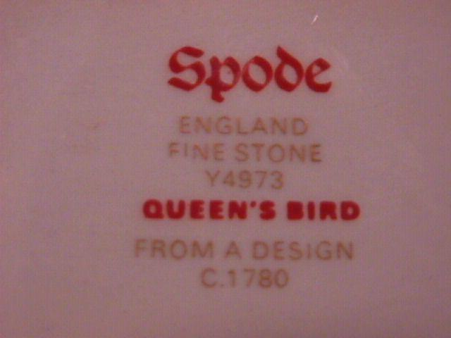 Spode Finestone (Queens Bird) Gravy Boat Fast on Stand