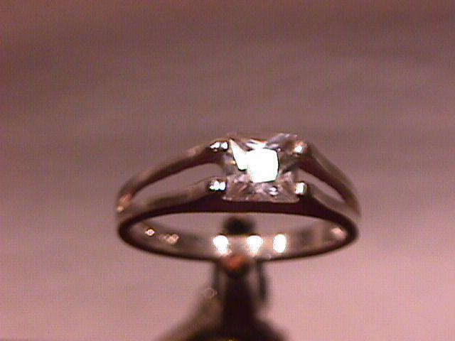 Sterling and Square Cut CZ Ring