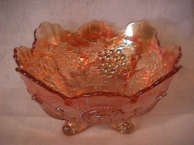 Dugan Carnival Glass (Grape Arbor) Large-4- Footed Bowl=Marigold
