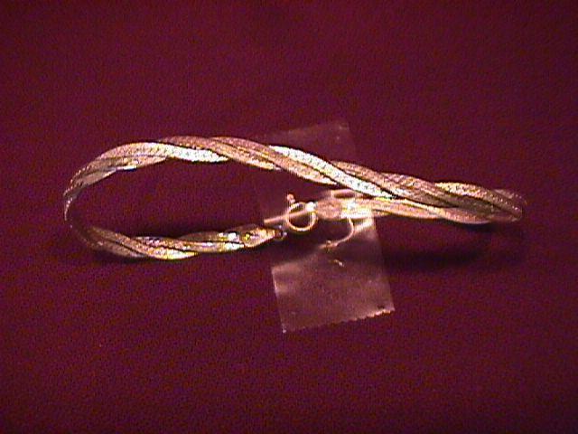 Sterling Italian Woven Diamond-Cut Bracelet