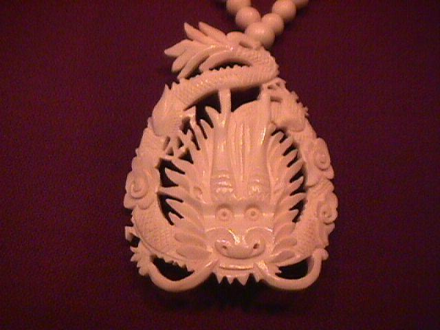 Vintage Ox Bone Hand Carved (Dragon) Necklace