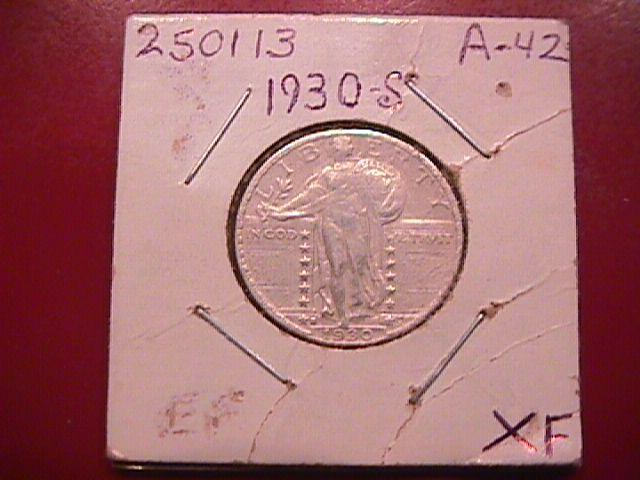 Standing Liberty Silver Quarter 1930-S  Extremely Fine Condition